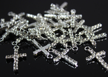2014 New Cross Pendants  50pcs/15*26mm Silver Plated Clear Rhinestone Charms Jewelry Finding For Earrings Bracelets Making