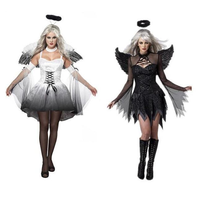 2017 new women fantasia halloween costumes fantasy cosplay party fancy dress adult fallen angel costume with - Halloween Costumes Angel Wings
