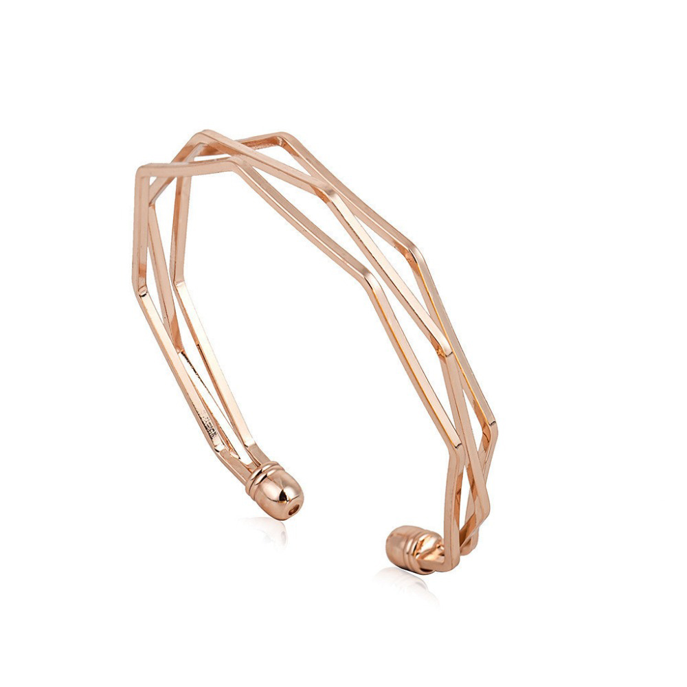 3D Geometry Open Bracelets & Bangles Rose Gold Stainless Steel Hollow Out Cuff Bracelt Pulseira Feminina Braslet