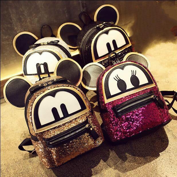 Sequins Mickey big ears Women Backpack High quality PU leather Girl Cute cartoon college wind school