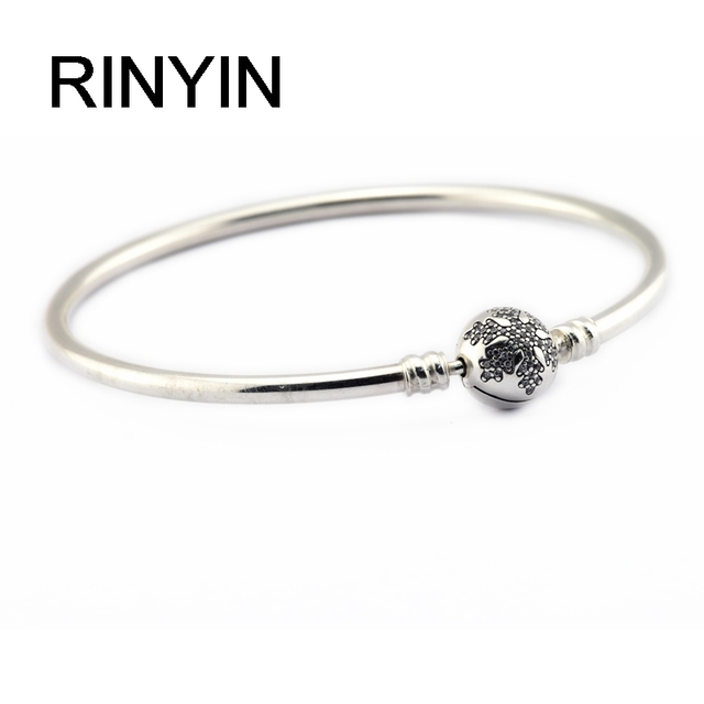 925 Sterling Silver Bracelets Fashion Jewelry Authentic European Brand 2016 Winter Unique Snowflake Bangle with Clear CZ Clasp