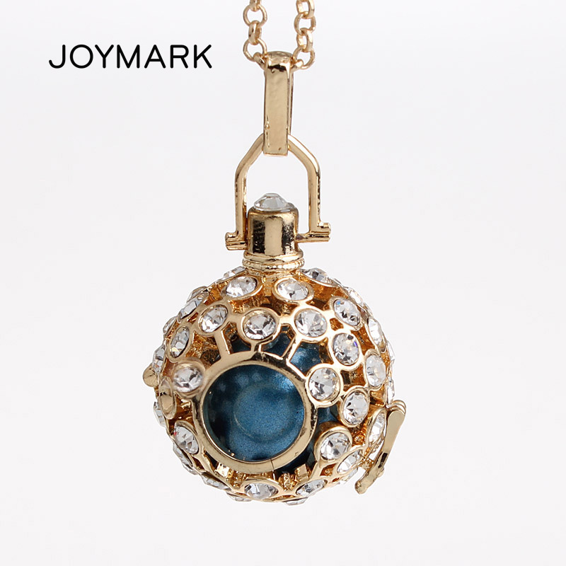 5pcslot Crystal Pave Hollow Cage Chime Magic Box Bola Sound Bell Pendant Long Chain Necklaces Harmony Pregnancy Gift HCPN43