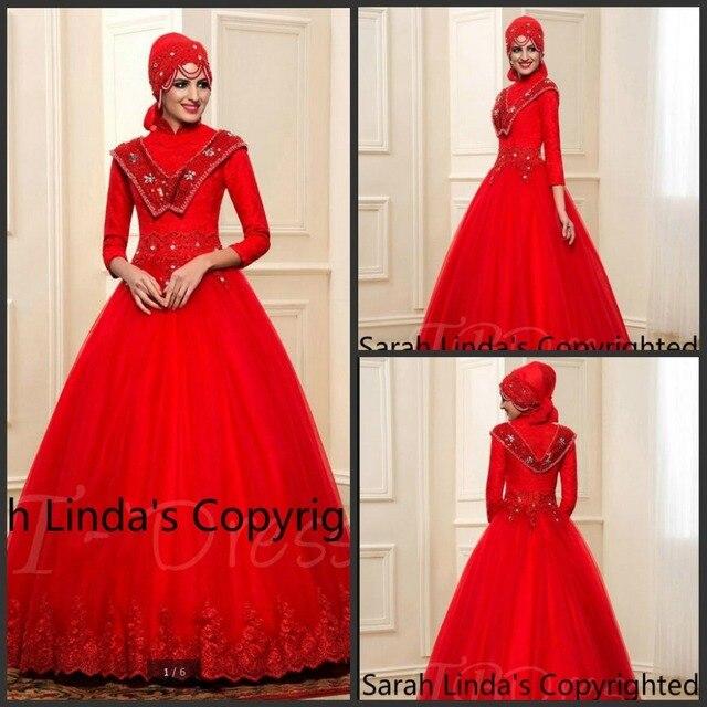 888dbbea3e0 Noble Red lace Beading modest Muslim Arabic Wedding Dress with Hijab 3 4  sleeve high neck elegant bride dress hot sale