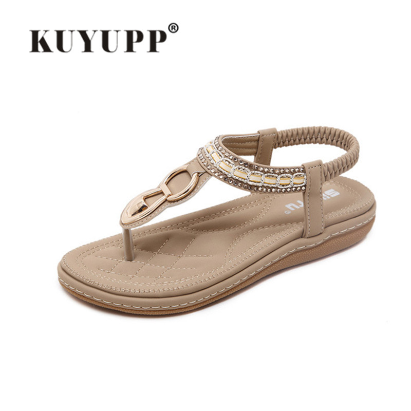 KUYUPP Bohemian Diamond Women Sandals Fashion Slippers Pu Leather Woman Flats Flip Flops Shoes Summer Beach Sandals SDT563 bees slippers women g designer flats sandals bees logo fashion women beach summer slippers flip flops