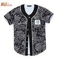 Alisister Novas Chegadas Dos Homens/mulheres 3d T-shirt Unisex Verão Tops Imprimir Flores Bonitas do Botão Camisas Hip Hop Jérsei De Basebol Tshirt