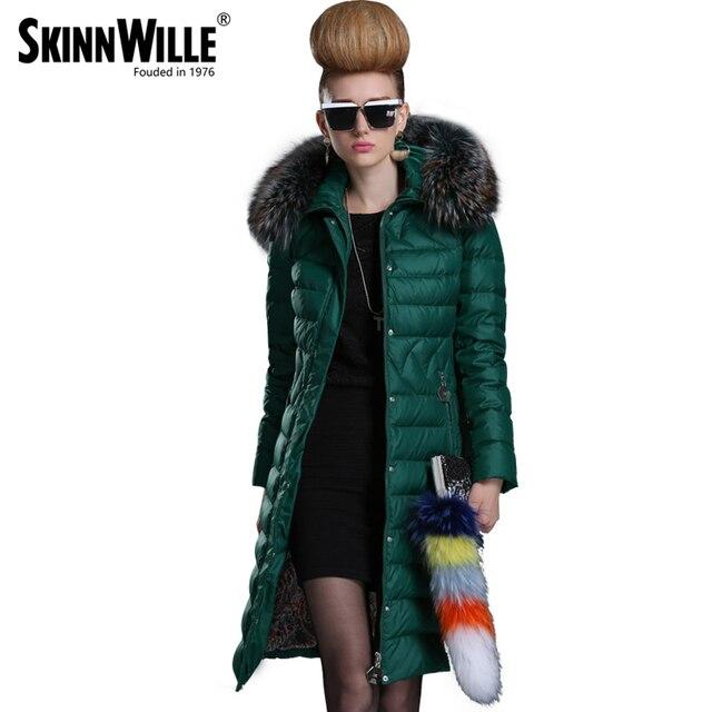 SKINNWILLE 2017 модный удобный пуховик классический модель натуральный мех средняя длина удобный капюшон новый зимний бренд теплое пальто