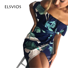 ELSVIOS Sexy Off Shoulder Side Slit Summer font b Dress b font 2017 Casual Slash Neck