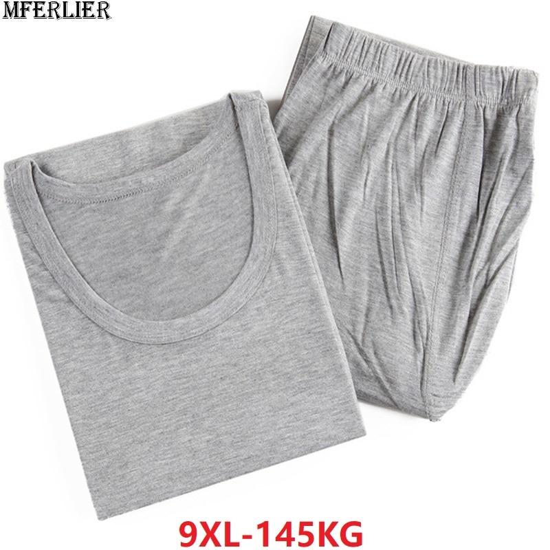 Men Underwears Long Johns Large Size Big Cotton Modal Thermal Underwear Thin Tops Thin Bottoms Loose Comfortable 7XL 8XL 9XL