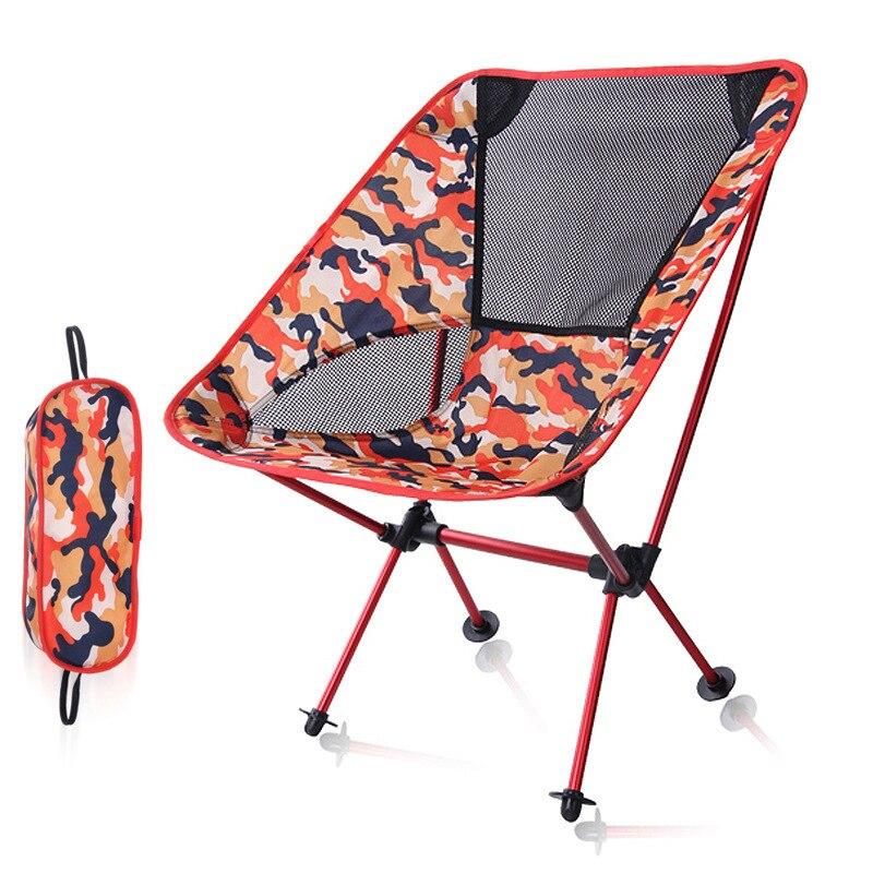 Camo extérieur barbecue en alliage d'aluminium pliant enfants adulte Ultra léger loisirs Camouflage lune chaise pour jardin plage tourisme