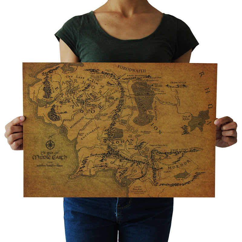1PC Magic Ring Vintage Kraft Paper The Hobbit Map Of Middle-earth Movie Posters Ancient Ways Map Kraft Paper Adornment