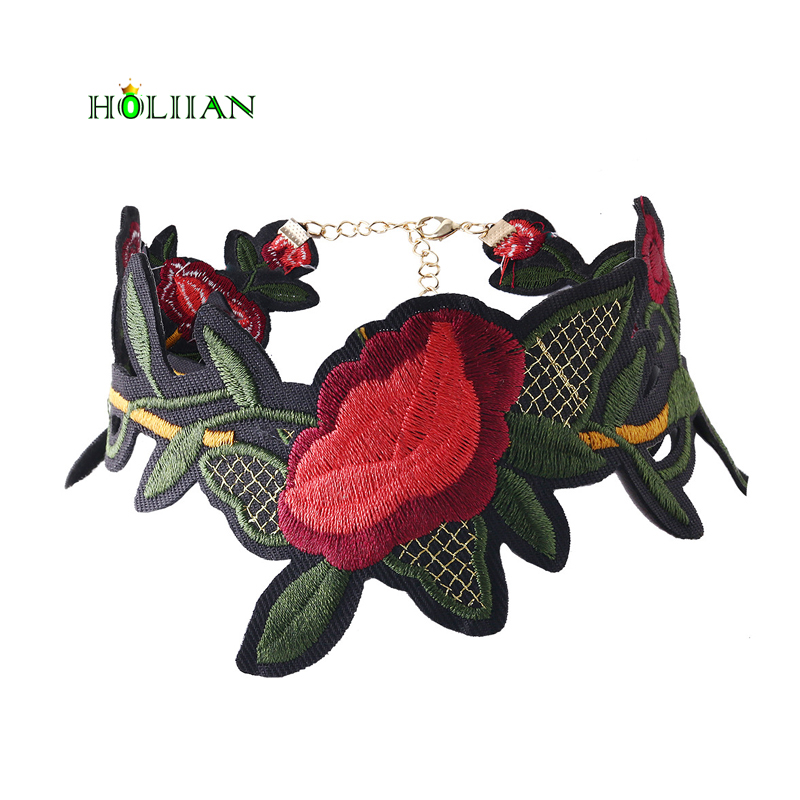 For women ethnic chokers necklace big red flowers embroidery boho jewellery female romance bohemian jewelry chockers mujer 2017