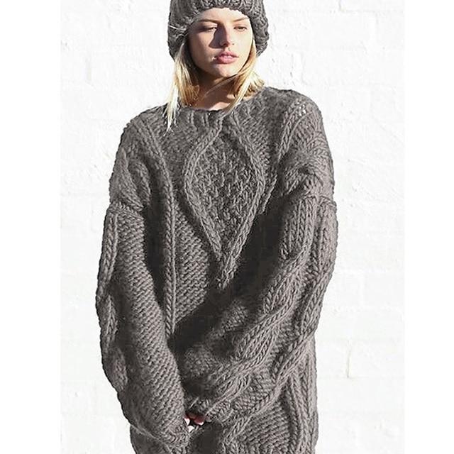 a910f38a634230 Zimowe damskie Wełniane Wełniany Sweter Czysto Ręcznie Cieplej dzianiny  Damskie Długi Style Sweter Kurtka Mody Wysokiej