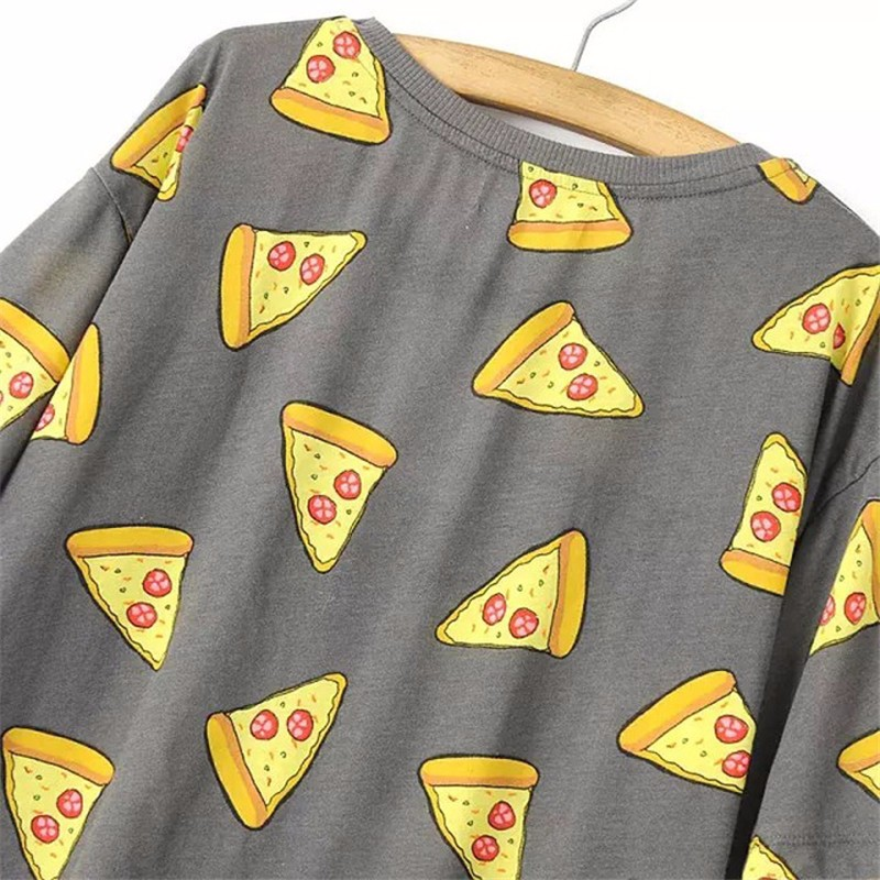 HTB1FsVGOpXXXXX0XXXXq6xXFXXX7 - No Drama Pizza Print Women T Shirts Short Sleeve