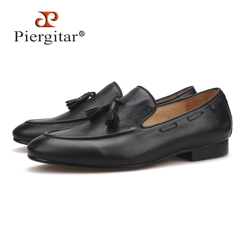 Piergitar 2018 new style Handmade men leather shoes party and wedding men tassel loafers Italian cow leather men's casual shoes piergitar men black genuine leather shoes with leather tassel british style men dress shoes wedding and banquet men loafers