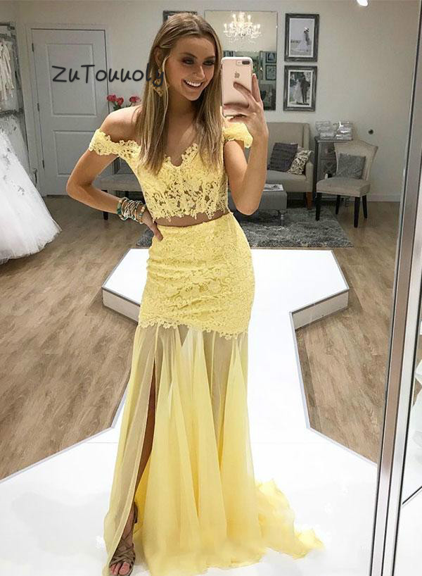Sexy Two Piece Prom Dresses Yellow Off Shoulder Lace Evening Dress Bodice Elegant Long Formal Party Dresses For Graduation Date