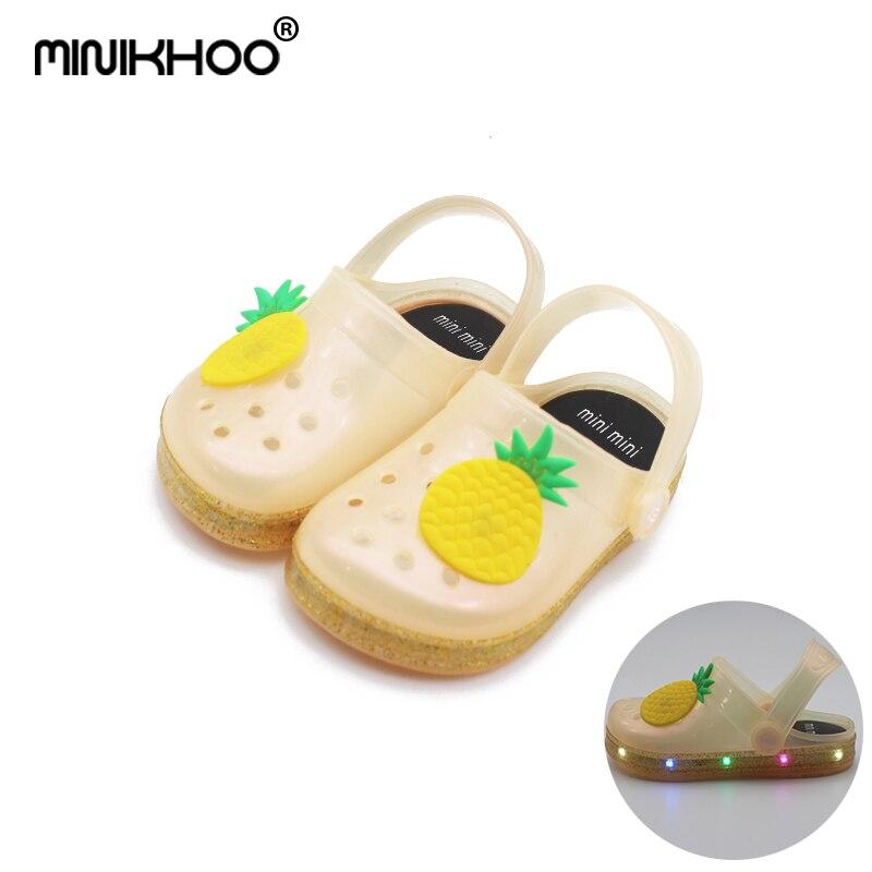 Mini Melissa Pineapple Pattern LED Flashing Lamp Girls Boy Garden Sandals 2018 Summer Children Jelly Sandals 14cm-17cm Non-slip