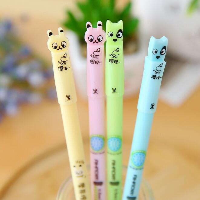 Kawaii Rabbit & Dog design Erasable Gel pen/0.5mm Black ink Signature pen funny gift office school Stationery supplies/wholesale kawaii beautiful flower design soft gel pen 0 38mm black signing pen funny gift office school supplies