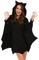 Adult Halloween Cosplay Dress O Neck Sleeved Role Play Fantasias Carnival Bat Costume Lingerie Erotic Party
