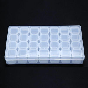 Image 5 - 28 Slots Nail Art Storage Box Plastic Holder For jewelry Rings Rhinestone Diamond Painting Organizer Transparent Display Case