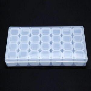 Image 5 - 28 слотов хранение для принадлежностей для дизайна ногтей пластиковый держатель для ювелирных колец Стразы Алмазный Органайзер Прозрачный чехол для дисплея