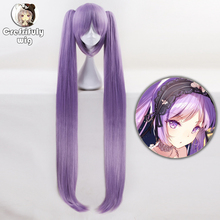 110cm FATE FGO Long Purple Wig With Two Clip On Ponytails Euryale Stheno Straight Thick Anime Cosplay Wigs For Costume Party