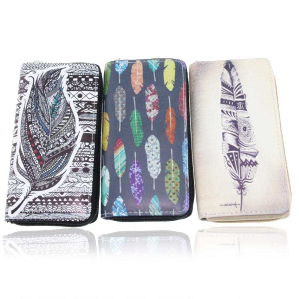 Women Feather Pattern Leather Long Wallet Zipper Clutch Purse Card Holder