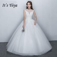 To Yiiya 2017 Sprzedaży Off Biały O-Neck Bez Rękawów Sukienka Ślubna Panny Młodej Tog Vintage Luksusowa Bling Sequined Koronka Illusion X009