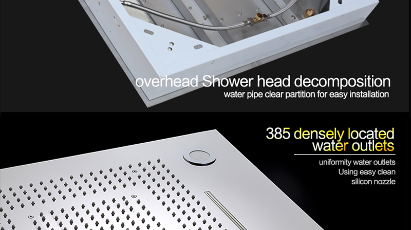 Bathroom Fixture Shower Faucets Ceiling Mounted Waterfall Mist Shower Head Big Rain LED Shower Set High Flow Thermostatic Bath (48)