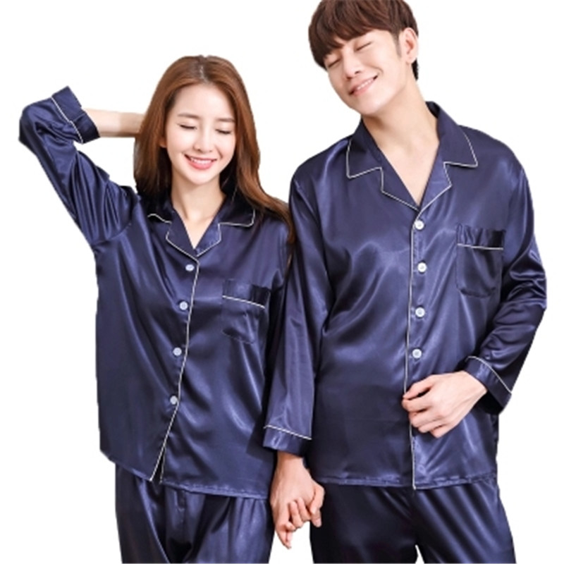 New Luxurious Silk Satin Couple   Pajamas     Set   Long Sleeve Trousers Sleepwear Women Mens Silk Pyjamas   Set   Plus Size 3XL