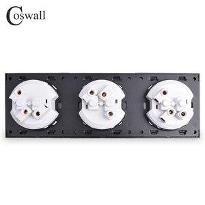 Image 5 - Coswall קריסטל מזג טהור זכוכית פנל 16A לשלושה צרפתית סטנדרטי קיר שקע חשמל מעוגן עם ילד מגן נעילה