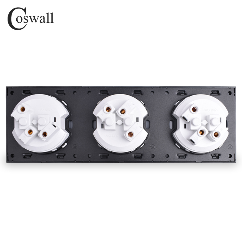 Image 5 - Coswall Crystal Tempered Pure Glass Panel 16A Triple French Standard Wall Power Socket Grounded With Child Protective LockElectrical Sockets   -