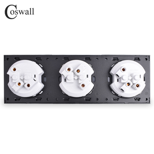 Image 5 - Coswall Crystal Tempered Pure Glass Panel 16A Triple French Standard Wall Power Socket Grounded With Child Protective Lock