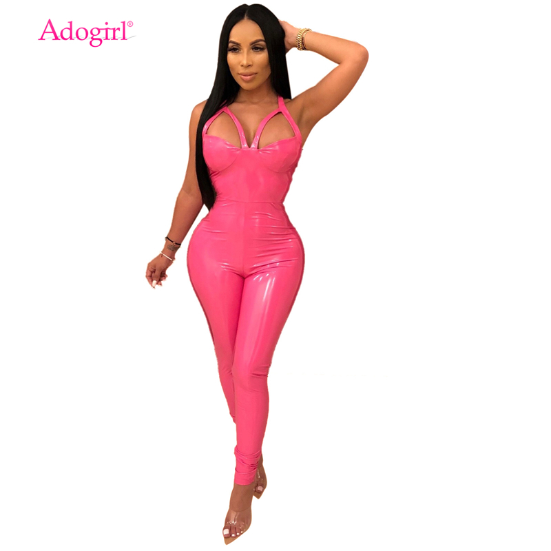 821609107d Adogirl Women Sexy Spaghetti Straps PU Leather Jumpsuit Hollow Out Backless  Stretchy Skinny Romper Night Club