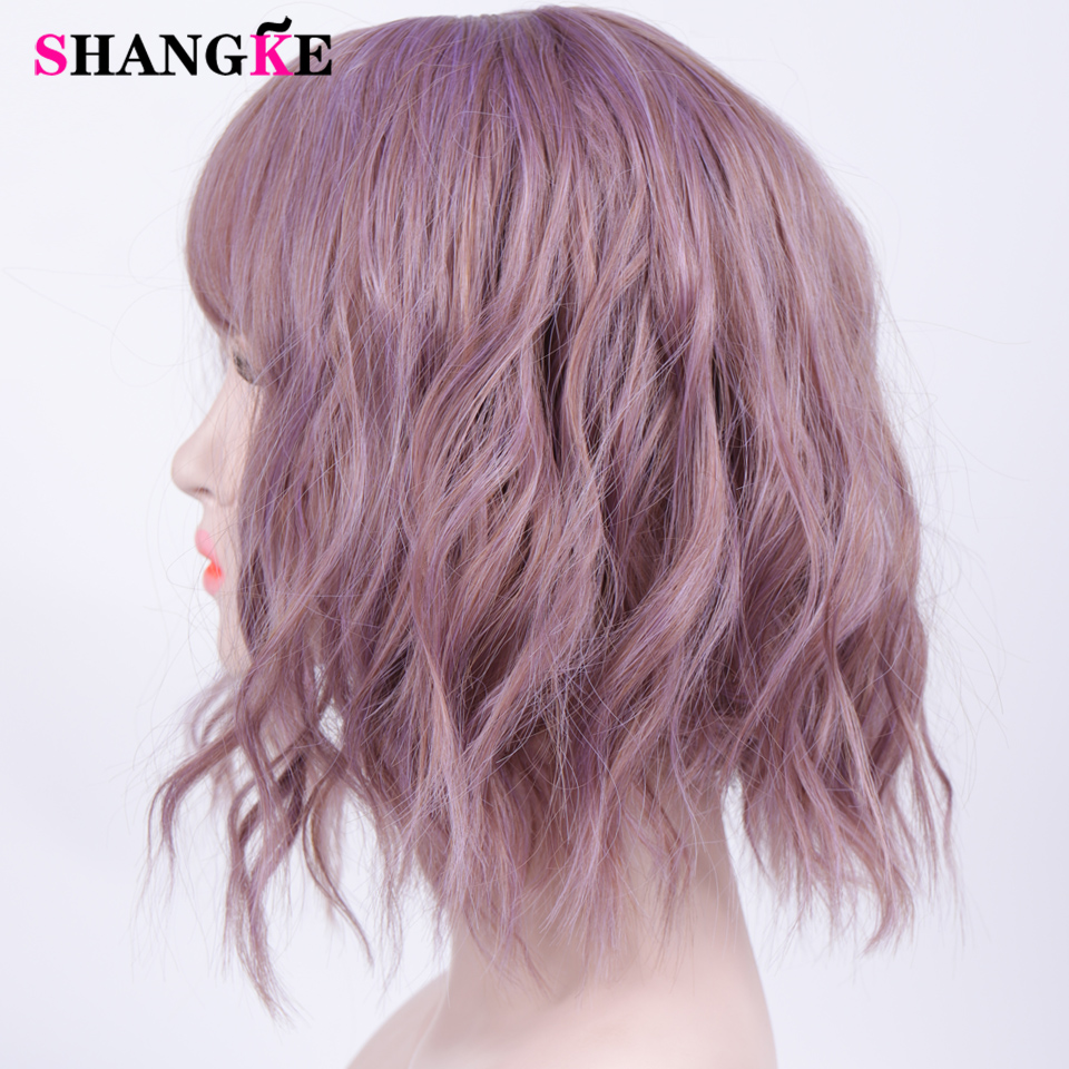 HTB1FsVzVmzqK1RjSZFpq6ykSXXa9 - Short Water Wave Synthetic Hair Mixed Purple and pink Wigs Available Cosplay Wig For Women Heat Resistant Fiber Daily Bob Wig