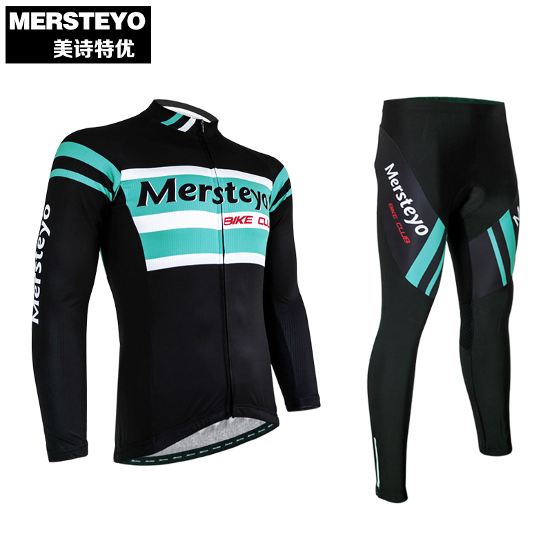 MERSTEYO 2017 Outdoor Ropa Ciclismo Men Cycling Jersey Clothing Bike Pants Set Bicycle Wear Long Sleeve Breathable S-XXXL teleyi men cycling jersey bike long sleeve outdoor bike jersey bicycle clothing wear breathable padded bib pants set s 4xl