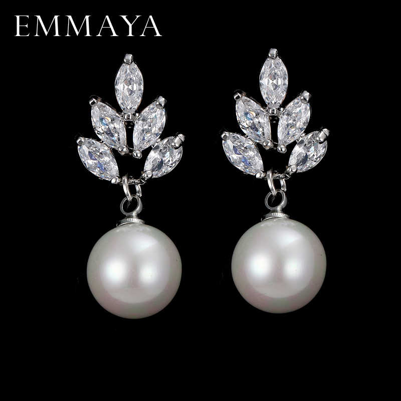 EMMAYA Fashion Pearl Earring 2017 New Austria Crystal CZ Crystal Ear Stud Earrings Jewelry For Women Mom Gift