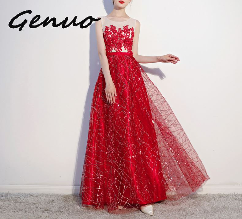 Genuo New 2019 Deep V Neck Bodycon Floor Length Maxi Dress Women Sexy Party Dresses Long Sleeve Sequin Dresses Vestidos De Fiest in Dresses from Women 39 s Clothing
