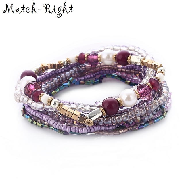 Match-Right Women Bohemia Jewelry of Multilayer Elastic Weave Set Bracelets & Bangles with Beads Charm Wrap  Bracelet LG-082
