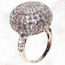 Lujo distinguido llena esférica deslumbrante anillo gran bola brillante anillos mujeres de accessoires