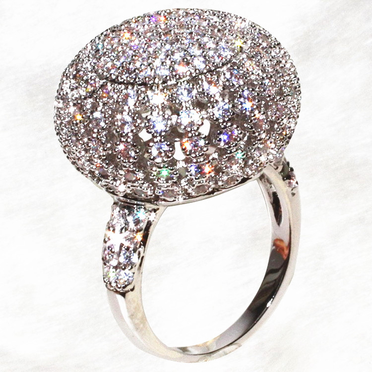 ALW Luxury Big Ball Crown Bright Rings For Women Full Dazzling Noble Ring Fashion Jewelry