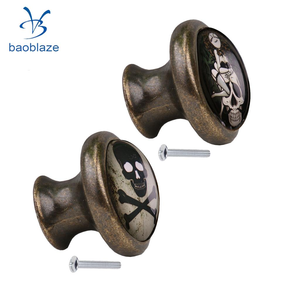 2pcs Skull Pattern Vintage Metal Door Knob Cupboard Cabinet Bin Drawer  Dresser Pulls Handle Knob Furniture Hardware #4 In Cabinet Pulls From Home  ...