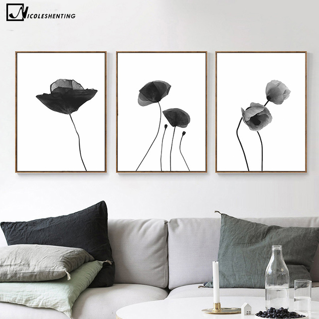 nordic kunst blumen pflanzen leinwand poster minimalismus malerei schwarz wei abstraktes bild. Black Bedroom Furniture Sets. Home Design Ideas