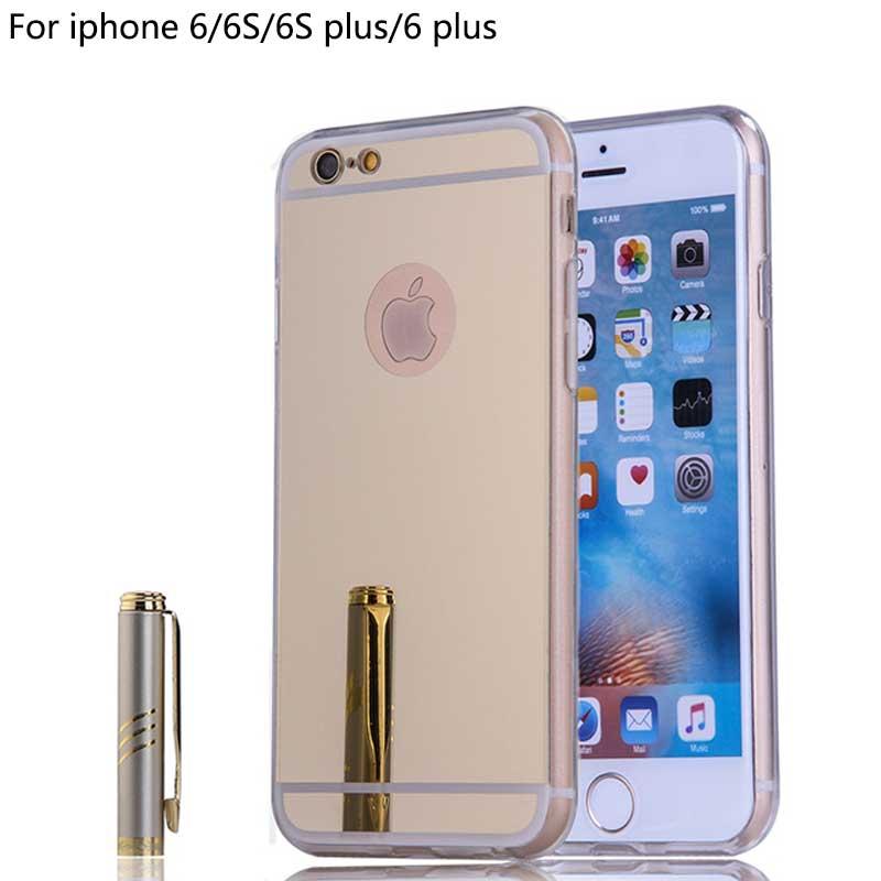 Case para iphone 6s 6 4.7 pulgadas de lujo espejo casos de la cubierta de acríli
