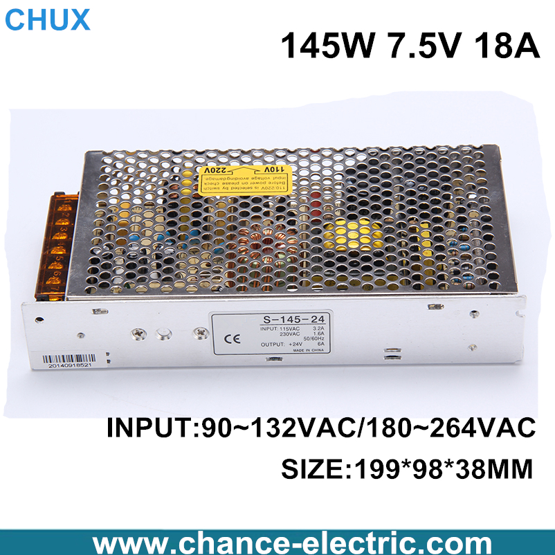 145W 7.5V 18A Single Output Switching power supply for LED Strip light AC to DC S-145W-7.5V free shipping allishop 300w 48v 6 25a single output ac 110v 220v to dc 48v switching power supply unit for led strip light free shipping