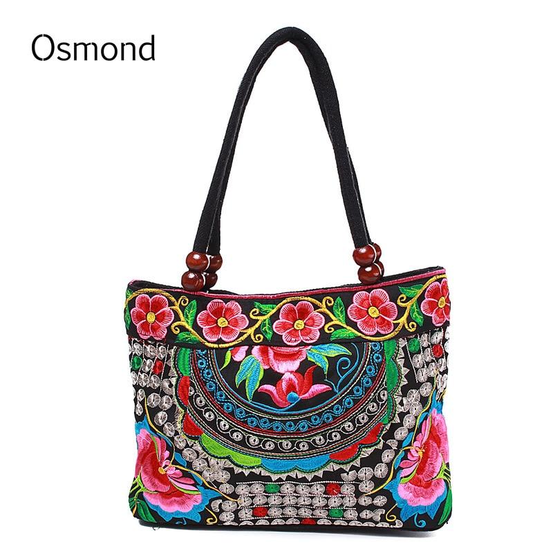 """""""Osmond National Women"""" rankinės etninė siuvinėjimo gėlė Totų krepšys Kinų stiliaus rankų darbo siuvinėti pirkiniai Bolsas"""