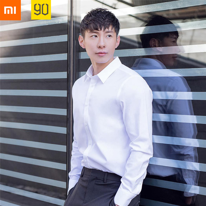 Anti-wrinkle Xiaomi 90 Fashion Men Shirt Non-ironing Long Sleeve Soft Cotton Slim Fit Casual Businessman Shirt Dress Clothes цена 2017