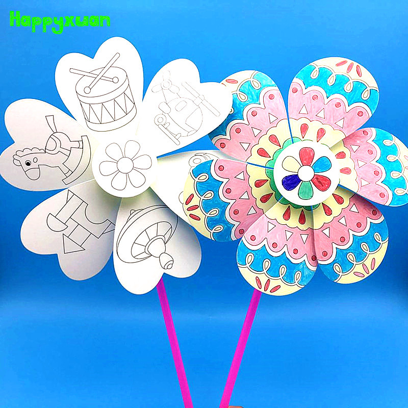 Happyxuan 8pcs/lot DIY Pinwheels Spinner Set Girls Coloring Toy Creative Drawing And Painting Kids Paper Hand Craft Educational