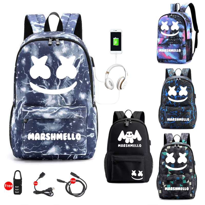 Marshmello DJ Backpack For Teenager Boys Girls Student School Backpack Anti-theft Usb Men Luminous Bags Anti-theft Usb Men Bag