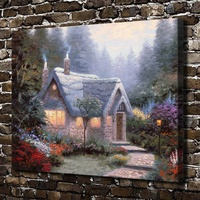H1252 Thomas Kinkade Cedar Nook Cottage Scenery HD Canvas Print Home Decoration Living Room Bedroom Wall