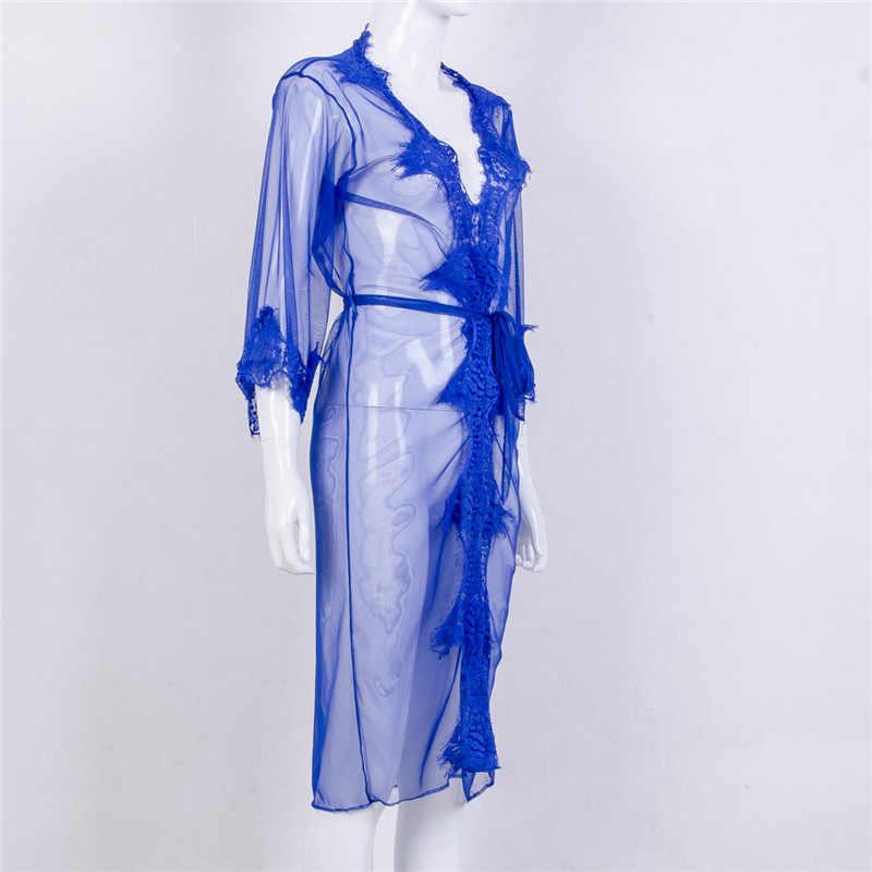 24abf279b12 ... Sexy Sheer Babydoll Sleepwear Women Lace Night Dress Sexy See Through  Lingerie Long Bathrobe Ladies Nightgown ...